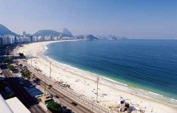 Der Strand von Copacabana mit dem Zuckerhut an seinem Ende